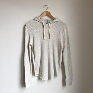 Waffle-Knit Pullover Hoodie